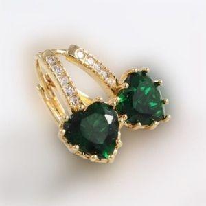 18K Plated Crystal Earrings Hoops.Earrings